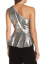 Eliza J One-Shoulder Sequin Peplum Top