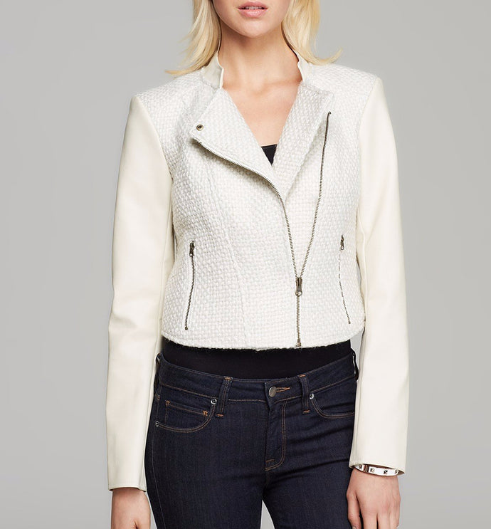 GUESS Jacket - Boucle and Faux Leather Motorcycle