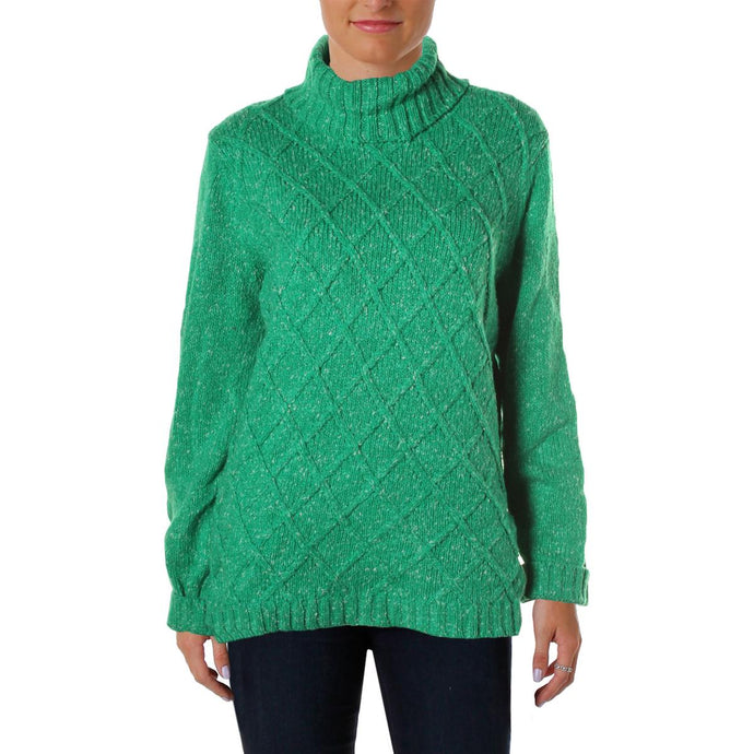 Anne Klein Speckled Cable-Knit Turtleneck Sweater
