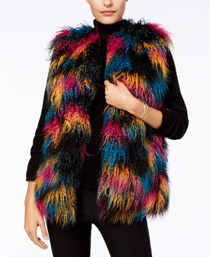I.N.C. Multicolor Faux Fur Vest