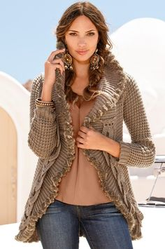 BOSTON PROPER - Crochet faux fur trim sweater coat