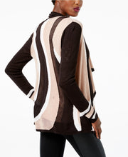 INC International Concepts Open-Front Draped Colorblock Cardigan