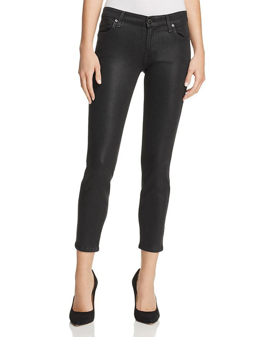 7 For All Mankind Coated Ankle Skinny Jeans in Black
