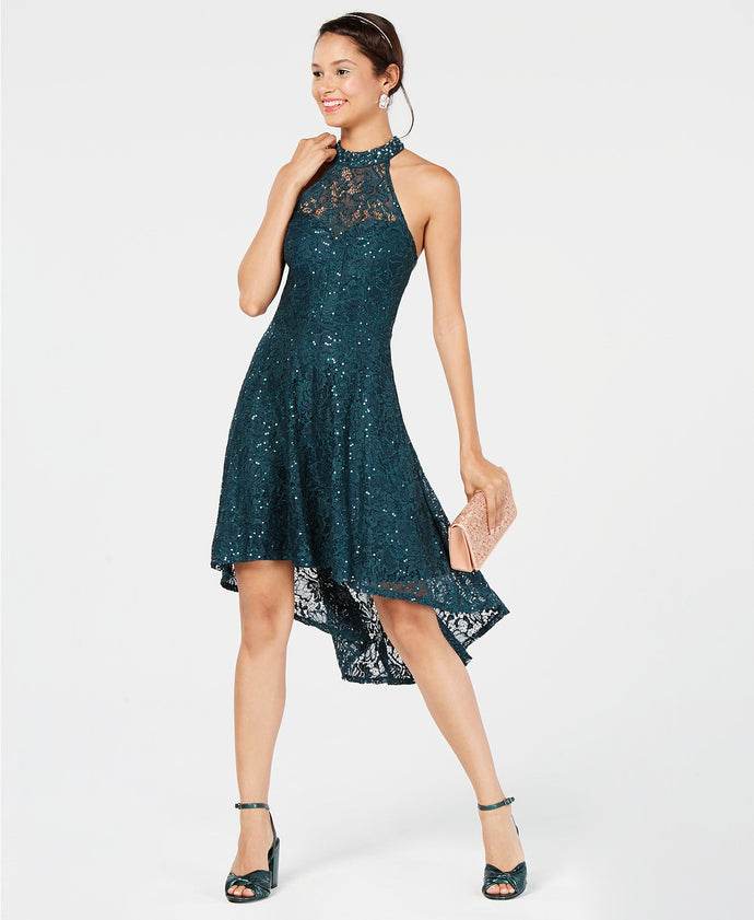 City Studios Juniors' Sequined Lace High-Low Dress