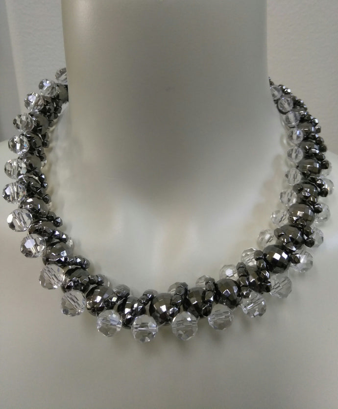 JET & CRYSTAL  STATEMENT NECKLACE