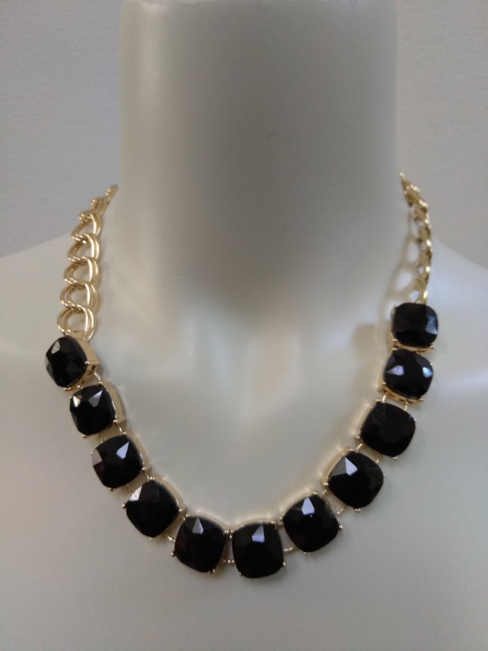 Black Diamond Cut Fashion Necklace
