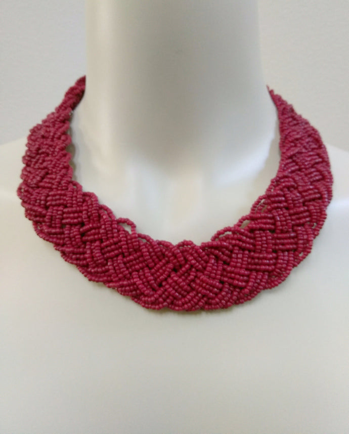 Braided Red Coral Bead Necklace