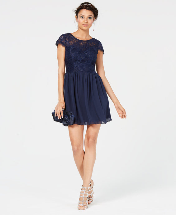 Speechless Juniors' Sparkle Lace-Contrast Dress