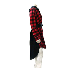 Hi-Low Belted Plaid Long Sleeves Dress