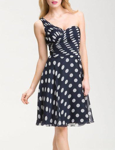Adrianna Papell One Shoulder Pleat Detail Polka Dot Chiffon Dress