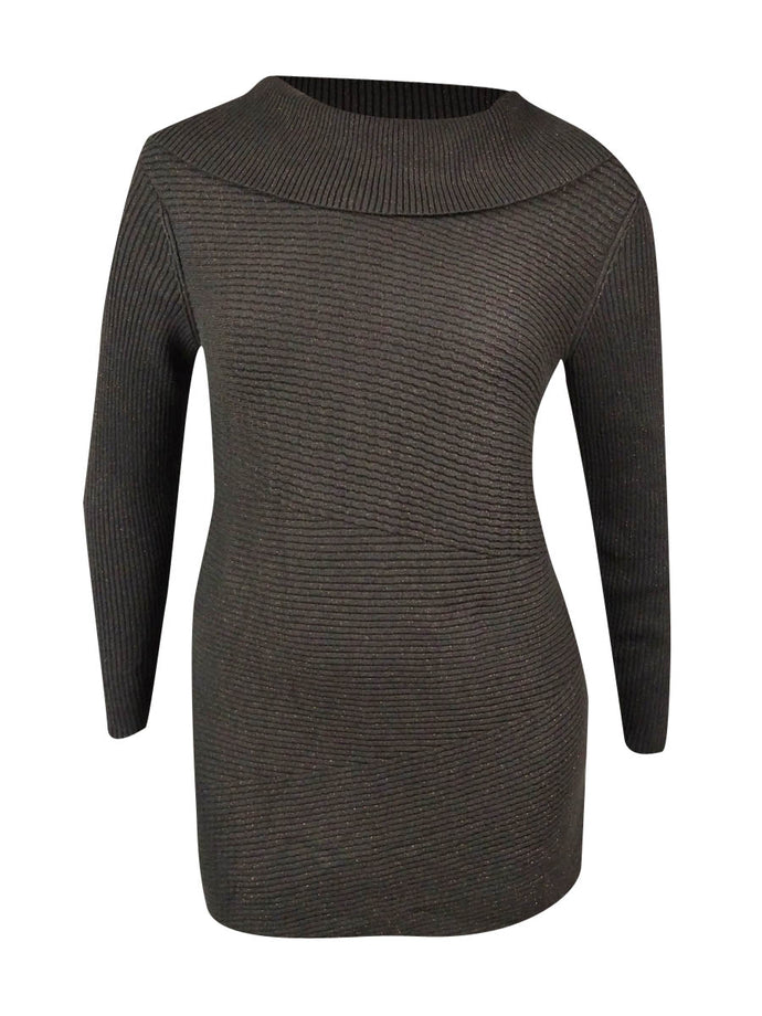 Alfani Women's Cowl Neck Metallic Sweater