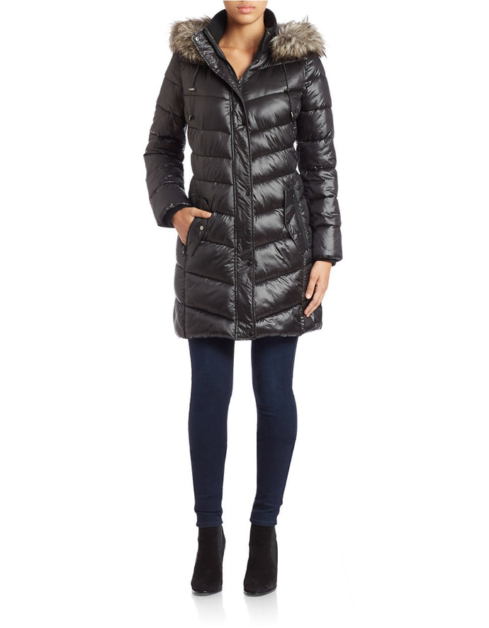 Bernardo Faux Fur  Hooded Coat.    SOLD OUT