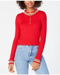 Planet Gold Mock Neck Junior Sweater
