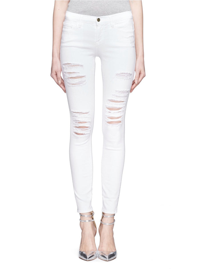 FRAME  White Distressed Classic Le De Jeanne Ripped Skinny Jeans