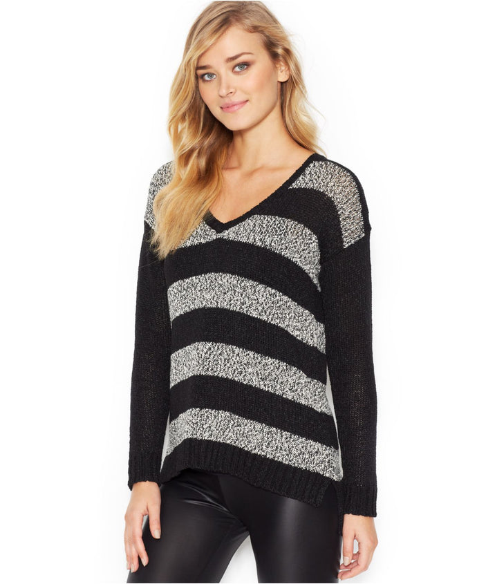 Kensie Women's Black Long-Sleeve V-Neck Striped Jumper