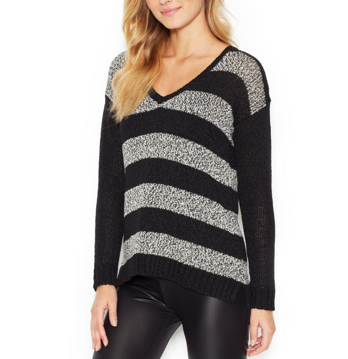 Kensie Long-Sleeve V-Neck Striped Sweater.
