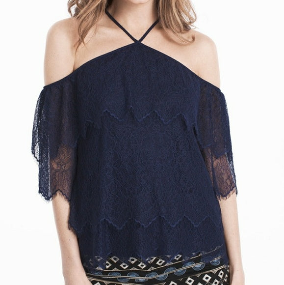 WHBM lace tiered halter top blouse
