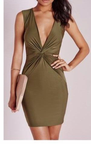 Missguided twist front plunge bodycon dress- OLIVE