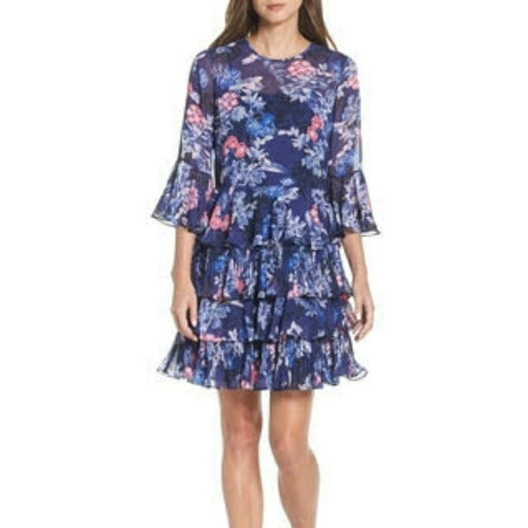 Eliza J Bell Sleeve Flounce Dress