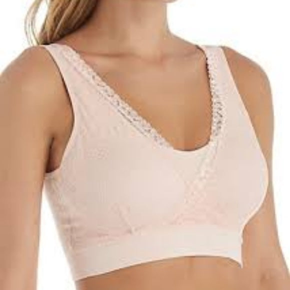 Rhonda Shear Seamless Ahhlette Bra with Lace Crossover