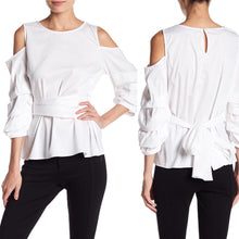 Socialite WHITE Cold Shoulder GATHERED Pick-Up SLEEVE Wrap TIE Blouse