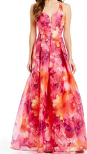 Marina -  Cross Back Printed Ball Gown