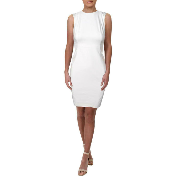 Calvin Klein Womens White Fitted Knee-Length Dress