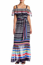 Eliza J Cold Shoulder Striped Maxi Dress