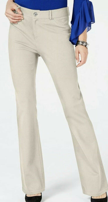 Inc Beige Mid-Rise Bootcut Wide Leg Casual Pants