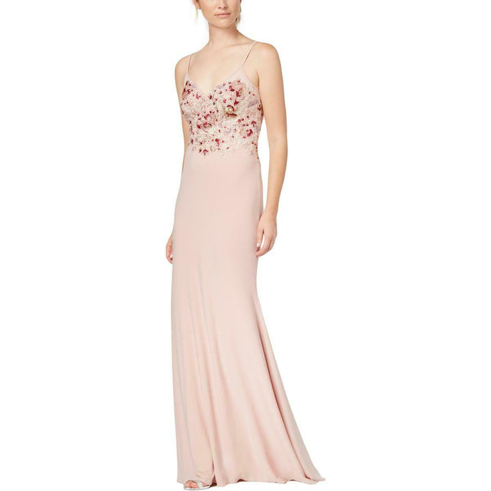 Xscape Pink Embroidered Embellished Formal Gown