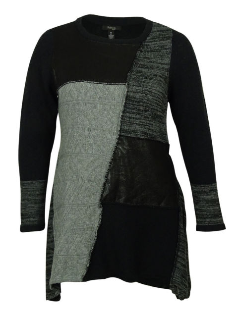 STYLE & CO. PATCHWORK FAUX LEATHER MIXED GREY COMBO TUNIC (PLUS)