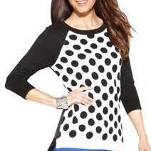 Ellen Tracy Black & White Long Sleeve Polka Dot Mixed-texture Sweater/Pullover