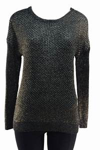 Grace Elements women's black/Gold  Shimmering metallic pullover sweater.