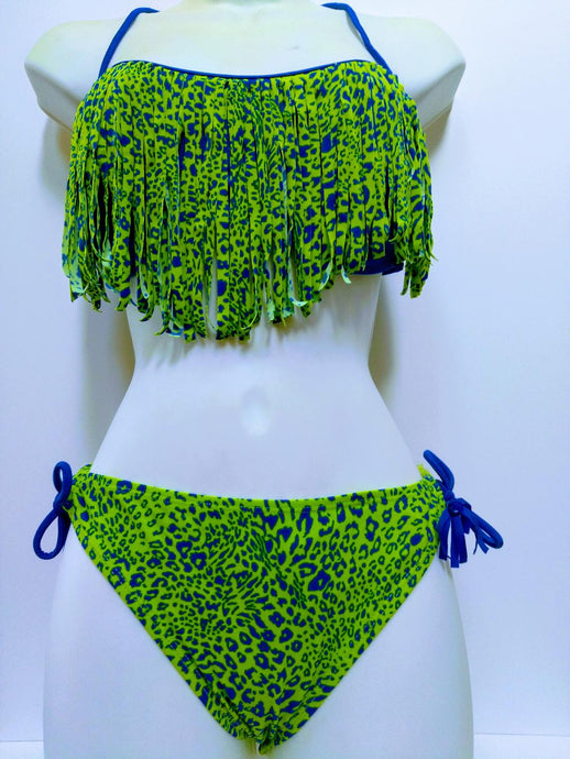 Raisins Designer Fringe Two Pieces Bikini Leopard Blue Lime