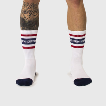 BOSTON SOCKS WHITE/BLUE/RED