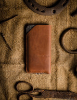 Leather Iphone Case | Sleeve | Wallet with Card Pockets | Classic Brown Leather
