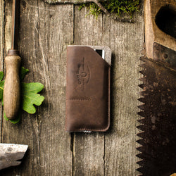 Leather Iphone Case | Sleeve | Wallet with Card Pockets | Wood Brown Leather