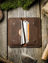 Leather Double Iphone Wallet | Case | Sleeve | Wood Brown