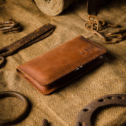 Leather Double Iphone Wallet | Case | Sleeve | Classic Brown