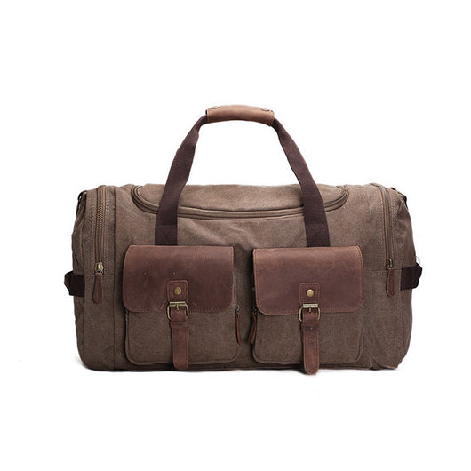 Handmade Waxed Canvas Leather Pocketed Duffle Bag | Weekend Bag | Army Grey