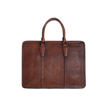 Handmade Vintage Full Grain Leather Briefcase | Laptop Bag | Dark Brown