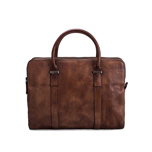 Handmade Vintage Vegetable Tanned Leather Briefcase | Laptop Bag | Brown