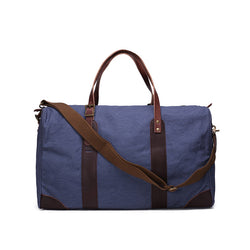 Leather Trimmed Waxed Canvas Travel Bag | Duffle Bag | Holdall Weekender Bag | Blue