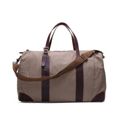 Leather Trimmed Waxed Canvas Travel Bag | Duffle Bag | Holdall Weekender Bag | Grey
