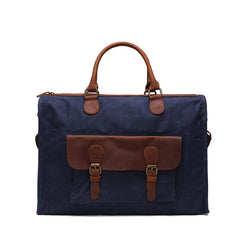 Waxed Canvas & Leather Messenger Bag | Laptop Briefcase | Shoulder Bag | Dark Blue