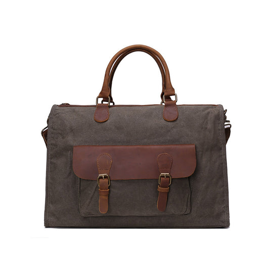 Waxed Canvas & Leather Messenger Bag | Laptop Briefcase | Shoulder Bag | Dark Grey