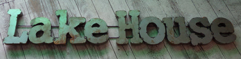 Metal Letters Wall Sign :   Lake House