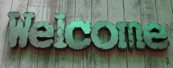 Metal Letters Wall Sign :   Welcome