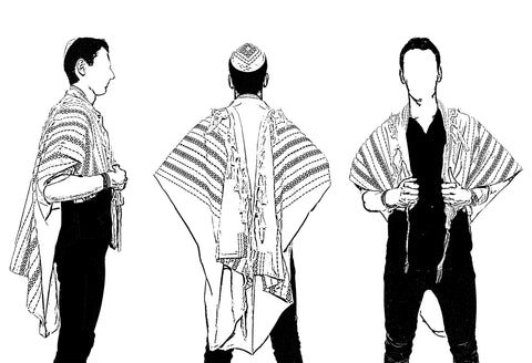 "Tallit size guide illustration - full size 40"" - 60"" x 80"""