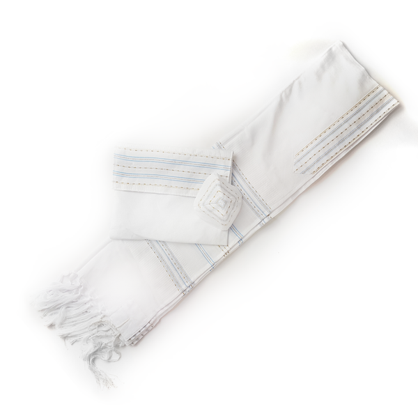 Cotton Tallit - Flag blue and Gold on White